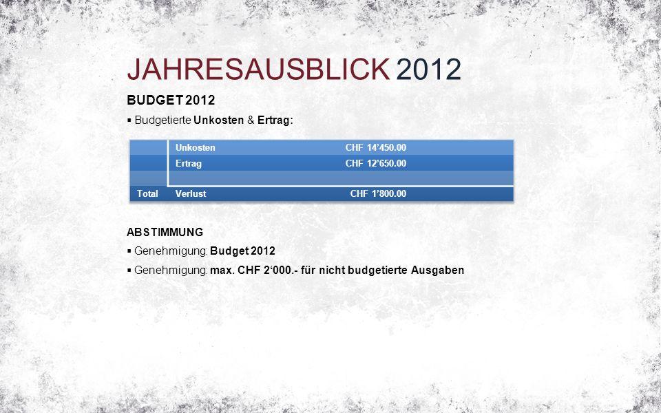 JAHRESAUSBLICK 2012 BUDGET 2012  Budgetierte Unkosten & Ertrag: ABSTIMMUNG  Genehmigung: Budget 2012  Genehmigung: max.