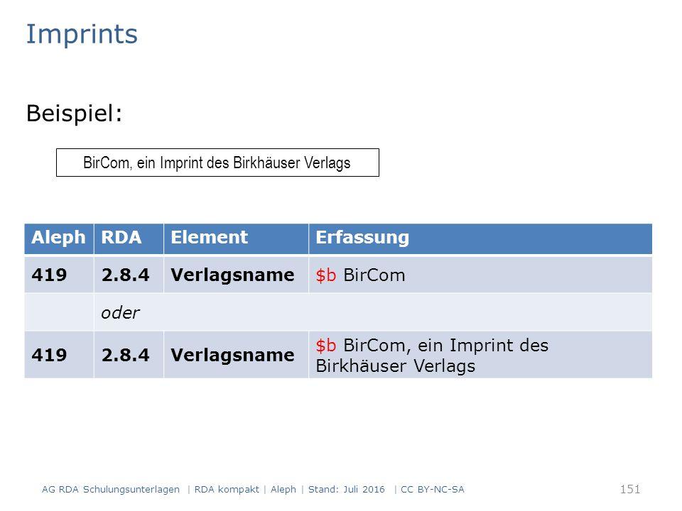 Imprints Beispiel: BirCom, ein Imprint des Birkhäuser Verlags AlephRDAElementErfassung 4192.8.4Verlagsname$b BirCom oder 4192.8.4Verlagsname $b BirCom, ein Imprint des Birkhäuser Verlags AG RDA Schulungsunterlagen | RDA kompakt | Aleph | Stand: Juli 2016 | CC BY-NC-SA 151