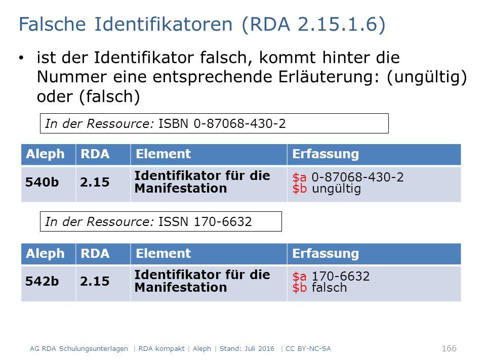 Falsche Identifikatoren (RDA 2.15.1.6) ist der Identifikator falsch, kommt hinter die Nummer eine entsprechende Erläuterung: (ungültig) oder (falsch) AlephRDAElementErfassung 540b2.15 Identifikator für die Manifestation $a 0-87068-430-2 $b ungültig In der Ressource: ISBN 0-87068-430-2 AlephRDAElementErfassung 542b2.15 Identifikator für die Manifestation $a 170-6632 $b falsch In der Ressource: ISSN 170-6632 166 AG RDA Schulungsunterlagen | RDA kompakt | Aleph | Stand: Juli 2016 | CC BY-NC-SA