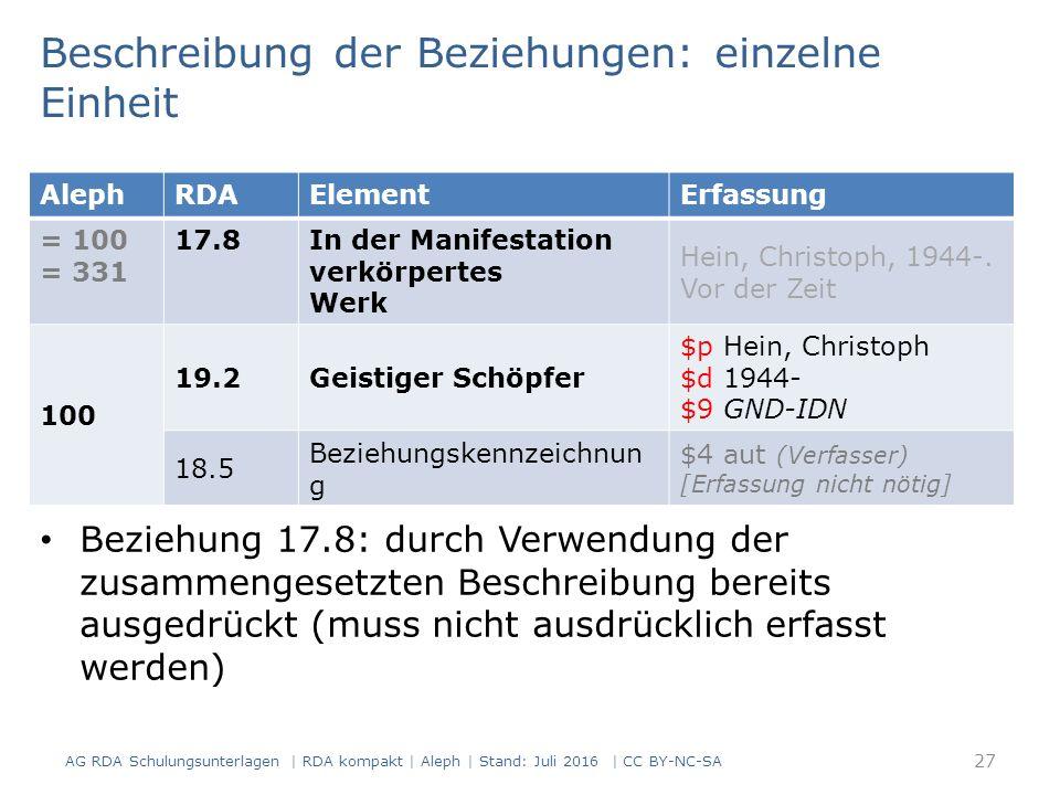 Beschreibung der Beziehungen: einzelne Einheit Beziehung 17.8: durch Verwendung der zusammengesetzten Beschreibung bereits ausgedrückt (muss nicht ausdrücklich erfasst werden) AlephRDAElementErfassung = 100 = 331 17.8 In der Manifestation verkörpertes Werk Hein, Christoph, 1944-.