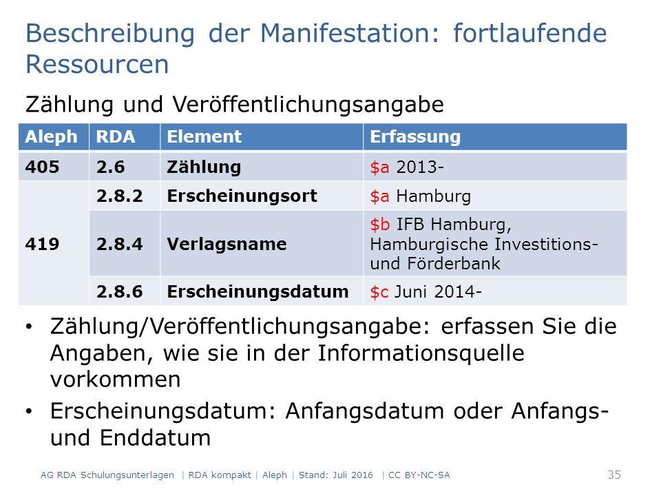Beschreibung der Manifestation: fortlaufende Ressourcen 35 AG RDA Schulungsunterlagen | RDA kompakt | Aleph | Stand: Juli 2016 | CC BY-NC-SA Zählung und Veröffentlichungsangabe Zählung/Veröffentlichungsangabe: erfassen Sie die Angaben, wie sie in der Informationsquelle vorkommen Erscheinungsdatum: Anfangsdatum oder Anfangs- und Enddatum AlephRDAElementErfassung 4052.6Zählung$a 2013- 419 2.8.2Erscheinungsort$a Hamburg 2.8.4Verlagsname $b IFB Hamburg, Hamburgische Investitions- und Förderbank 2.8.6Erscheinungsdatum$c Juni 2014-
