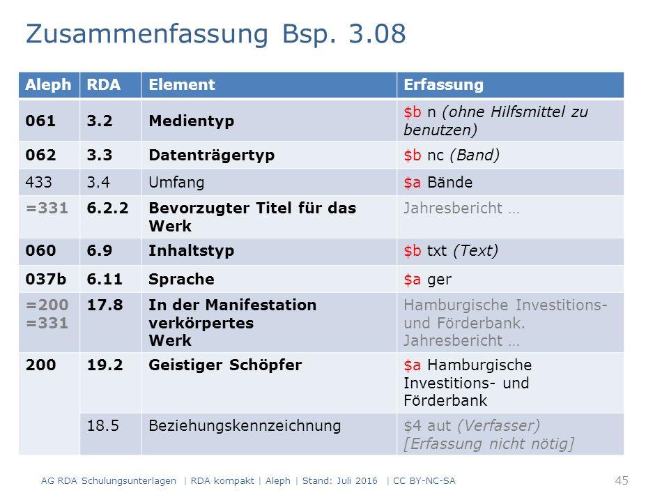 AlephRDAElementErfassung 0613.2Medientyp $b n (ohne Hilfsmittel zu benutzen) 0623.3Datenträgertyp$b nc (Band) 4333.4Umfang$a Bände =3316.2.2Bevorzugter Titel für das Werk Jahresbericht … 0606.9Inhaltstyp$b txt (Text) 037b6.11Sprache$a ger =200 =331 17.8In der Manifestation verkörpertes Werk Hamburgische Investitions- und Förderbank.