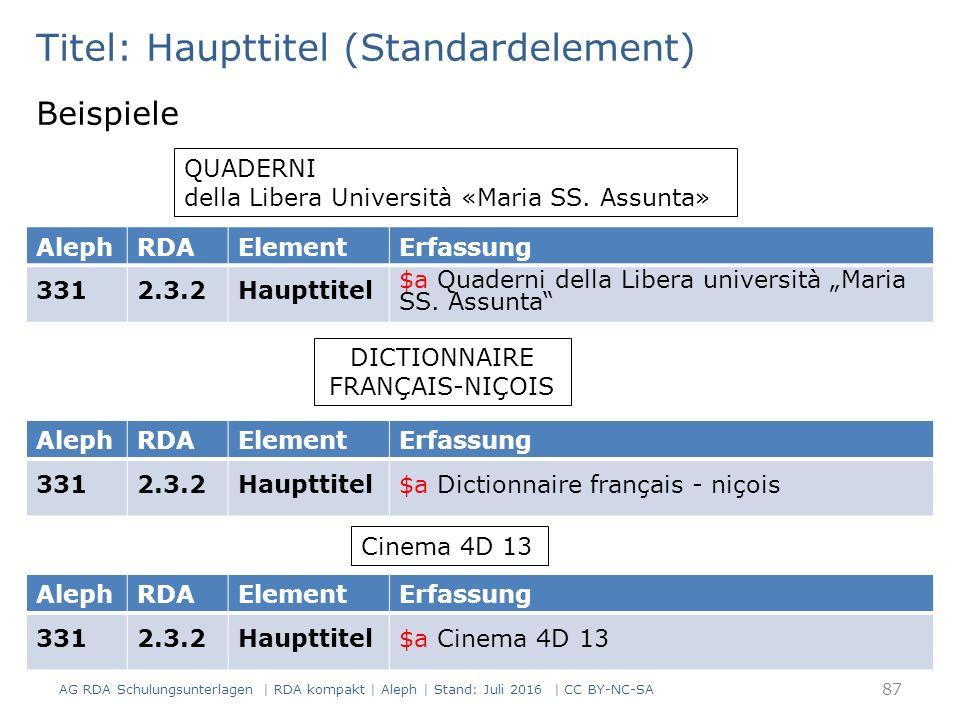 Titel: Haupttitel (Standardelement) Beispiele QUADERNI della Libera Università «Maria SS.