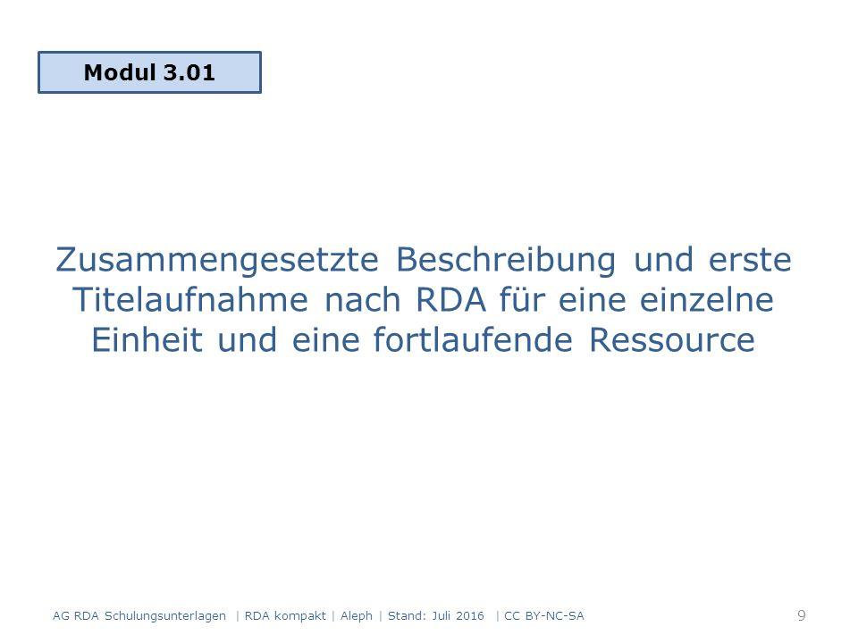 Angaben zu folgenden Elementen müssen mit eckigen Klammern gekennzeichnet werden, wenn sie ermittelt wurden: Titel Verantwortlichkeitsangabe Ausgabevermerk Zählung von fortlaufenden Ressourcen Entstehungsangabe Veröffentlichungsangabe Vertriebsangabe Herstellungsangabe Gesamttitelangabe Unterelemente siehe RDA 2.2.4 Sonstige Informationsquellen (RDA 2.2.4) 60 AG RDA Schulungsunterlagen | RDA kompakt | Aleph | Stand: Juli 2016 | CC BY-NC-SA