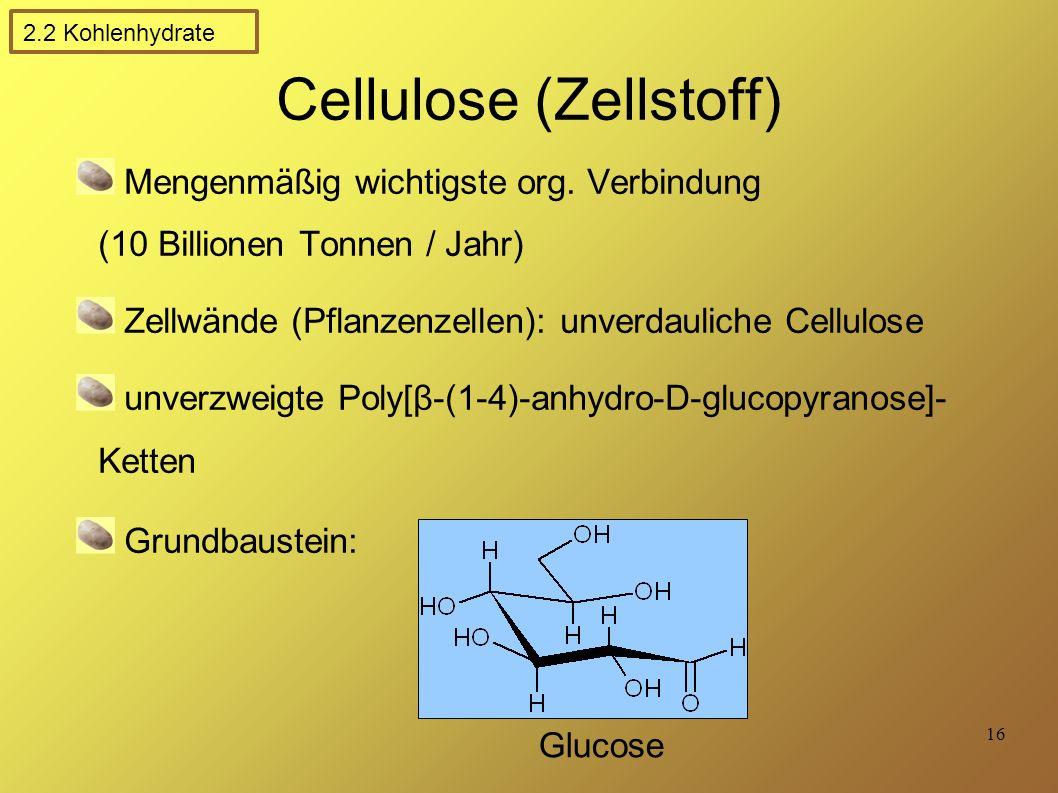 16 Cellulose (Zellstoff) Mengenmäßig wichtigste org.