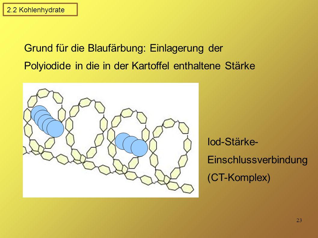 23 Iod-Stärke- Einschlussverbindung (CT-Komplex) Grund für die Blaufärbung: Einlagerung der Polyiodide in die in der Kartoffel enthaltene Stärke 2.2 Kohlenhydrate
