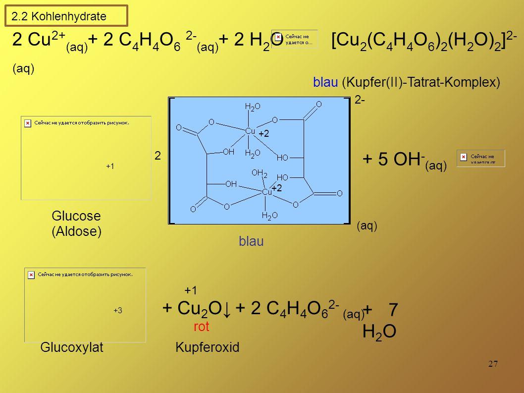 27 2 Cu 2+ (aq) + 2 C 4 H 4 O 6 2- (aq) + 2 H 2 O [Cu 2 (C 4 H 4 O 6 ) 2 (H 2 O) 2 ] 2- (aq) blau (Kupfer(II)-Tatrat-Komplex) blau (aq) +2 2 + 5 OH - (aq) + Cu 2 O↓+ 2 C 4 H 4 O 6 2- (aq) + 7 H 2 O rot +3 +1 Glucose (Aldose) Glucoxylat Kupferoxid +1 2.2 Kohlenhydrate 2-