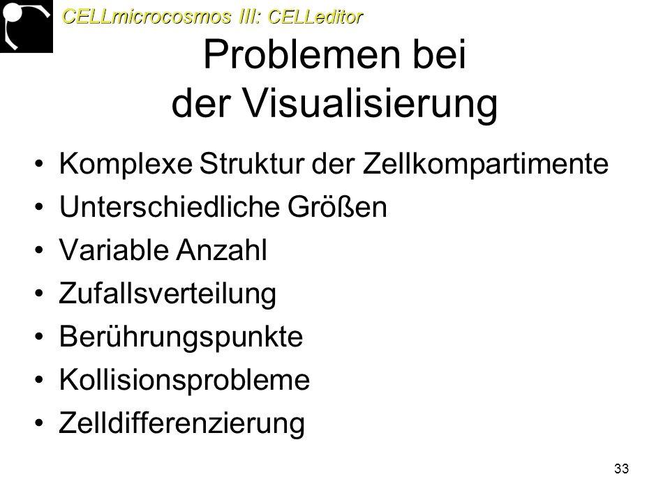33 Problemen bei der Visualisierung Komplexe Struktur der Zellkompartimente Unterschiedliche Größen Variable Anzahl Zufallsverteilung Berührungspunkte Kollisionsprobleme Zelldifferenzierung CELLmicrocosmos III: CELLeditor
