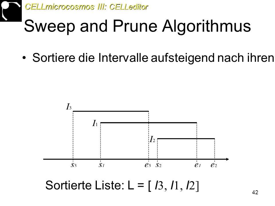 42 Sweep and Prune Algorithmus Sortiere die Intervalle aufsteigend nach ihren linken Intervallgrenzen in einer Liste Sortierte Liste: L = [ I 3, I 1, I 2] CELLmicrocosmos III: CELLeditor