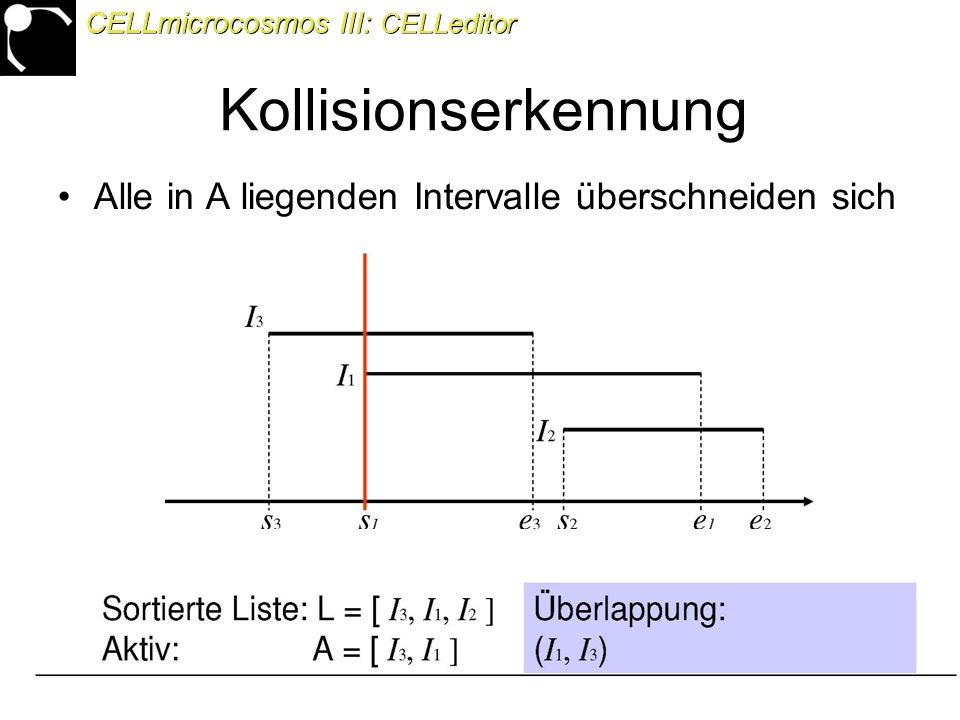 44 Alle in A liegenden Intervalle überschneiden sich CELLmicrocosmos III: CELLeditor Kollisionserkennung