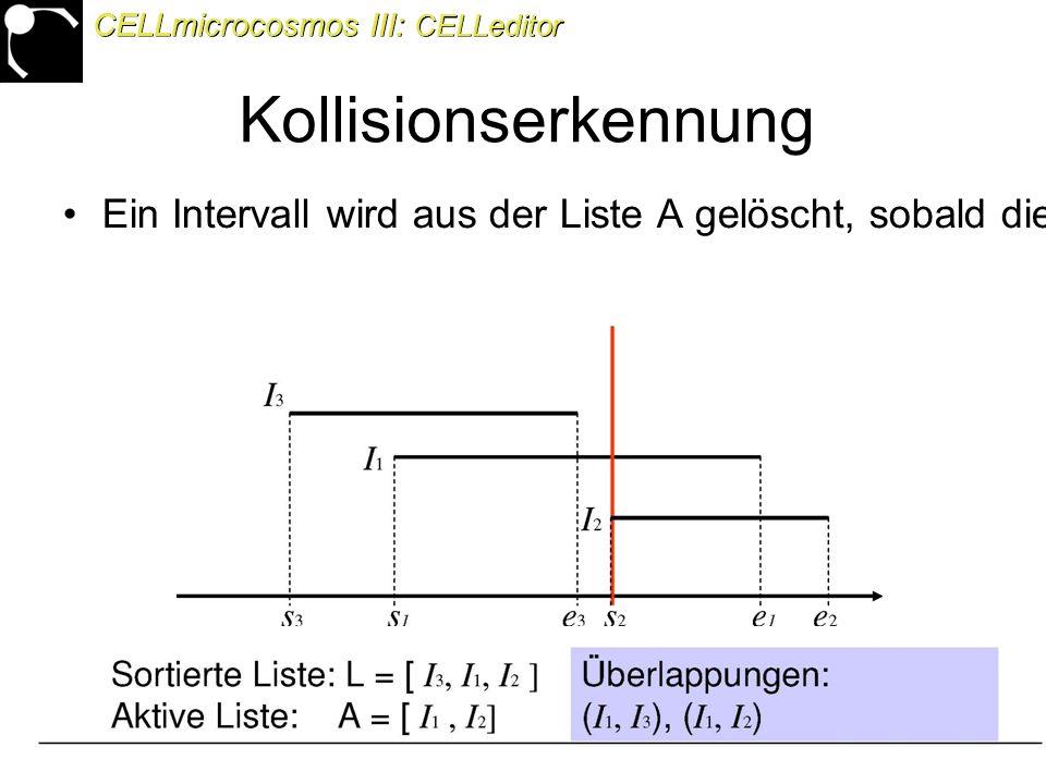45 Ein Intervall wird aus der Liste A gelöscht, sobald die Sweep-Line die rechte Grenze des Intervalls erricht hat CELLmicrocosmos III: CELLeditor Kollisionserkennung