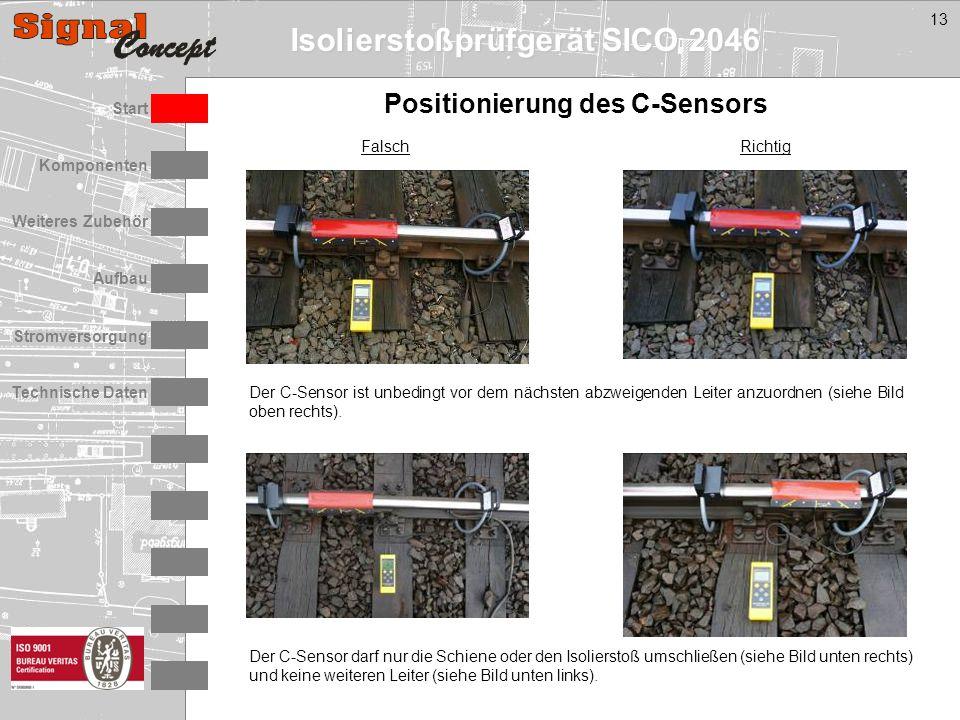 Isolierstoßprüfgerät SICO 2046 Stromversorgung Technische Daten Start Aufbau Weiteres Zubehör Komponenten 13 Positionierung des C-Sensors Der C-Sensor darf nur die Schiene oder den Isolierstoß umschließen (siehe Bild unten rechts) und keine weiteren Leiter (siehe Bild unten links).