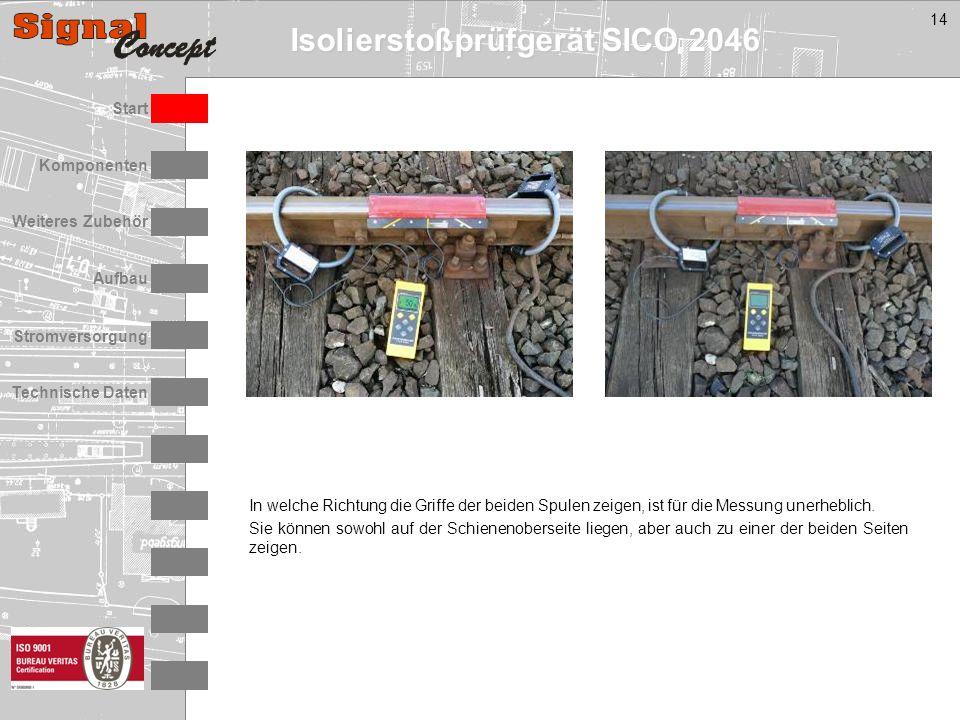Isolierstoßprüfgerät SICO 2046 Stromversorgung Technische Daten Start Aufbau Weiteres Zubehör Komponenten 14 In welche Richtung die Griffe der beiden Spulen zeigen, ist für die Messung unerheblich.