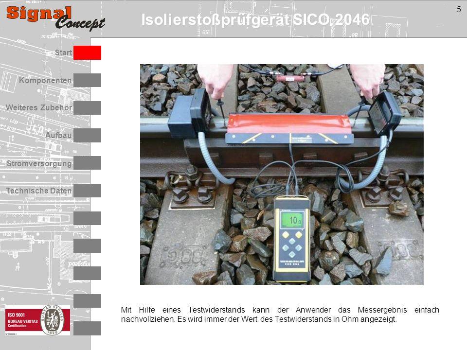 Isolierstoßprüfgerät SICO 2046 Stromversorgung Technische Daten Start Aufbau Weiteres Zubehör Komponenten 5 Mit Hilfe eines Testwiderstands kann der Anwender das Messergebnis einfach nachvollziehen.