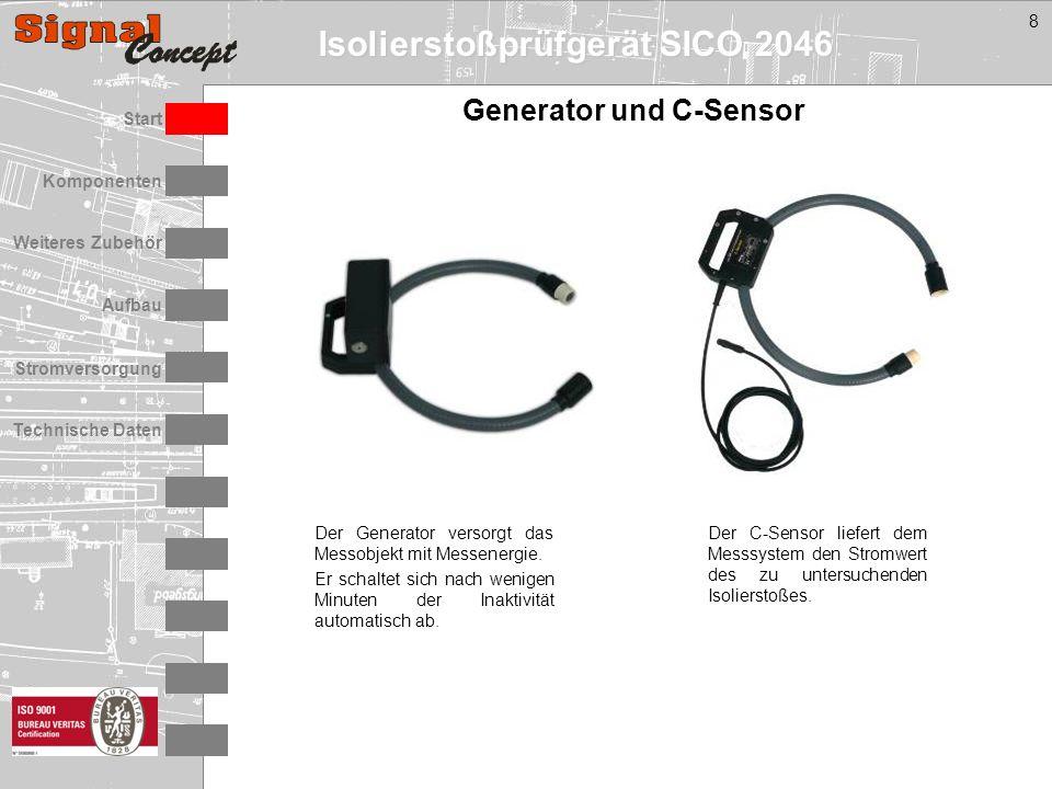Isolierstoßprüfgerät SICO 2046 Stromversorgung Technische Daten Start Aufbau Weiteres Zubehör Komponenten 8 Generator und C-Sensor Der Generator versorgt das Messobjekt mit Messenergie.