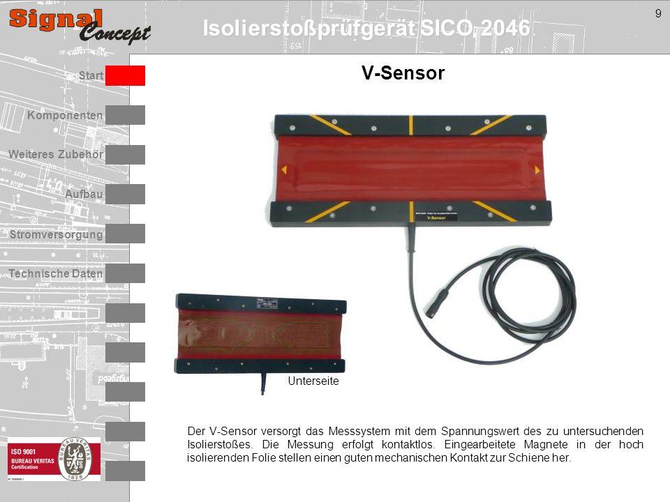 Isolierstoßprüfgerät SICO 2046 Stromversorgung Technische Daten Start Aufbau Weiteres Zubehör Komponenten 9 V-Sensor Der V-Sensor versorgt das Messsystem mit dem Spannungswert des zu untersuchenden Isolierstoßes.