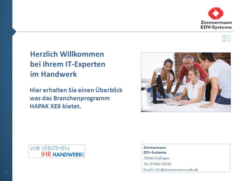 Herzlich Willkommen bei Ihrem IT-Experten im Handwerk Hier erhalten Sie einen Überblick was das Branchenprogramm HAPAK XE6 bietet.