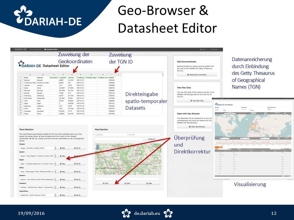 Geo-Browser & Datasheet Editor 19/09/2016de.dariah.eu12 Direkteingabe spatio-temporaler Datasets Zuweisung der TGN ID Zuweisung der Geokoordinaten Überprüfung und Direktkorrektur Datenanreicherung durch Einbindung des Getty Thesaurus of Geographical Names (TGN) Visualisierung