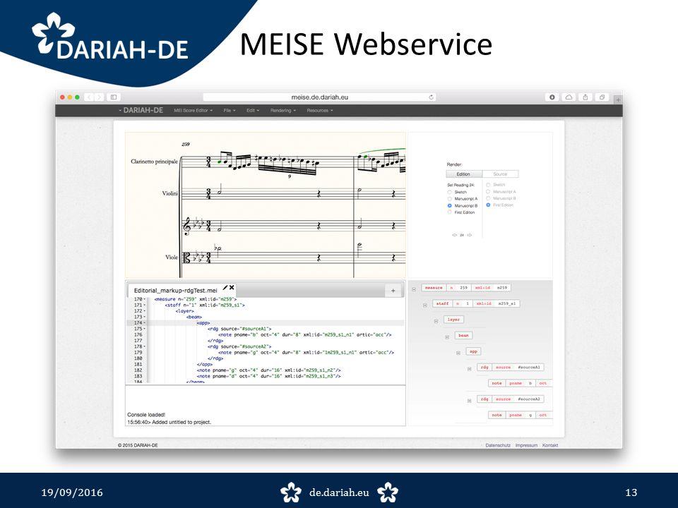 MEISE Webservice 19/09/2016de.dariah.eu13