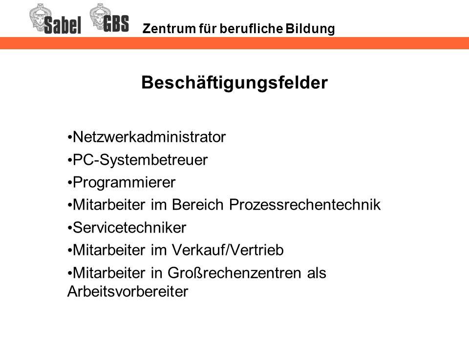 Zentrum für berufliche Bildung Beschäftigungsfelder Netzwerkadministrator PC-Systembetreuer Programmierer Mitarbeiter im Bereich Prozessrechentechnik
