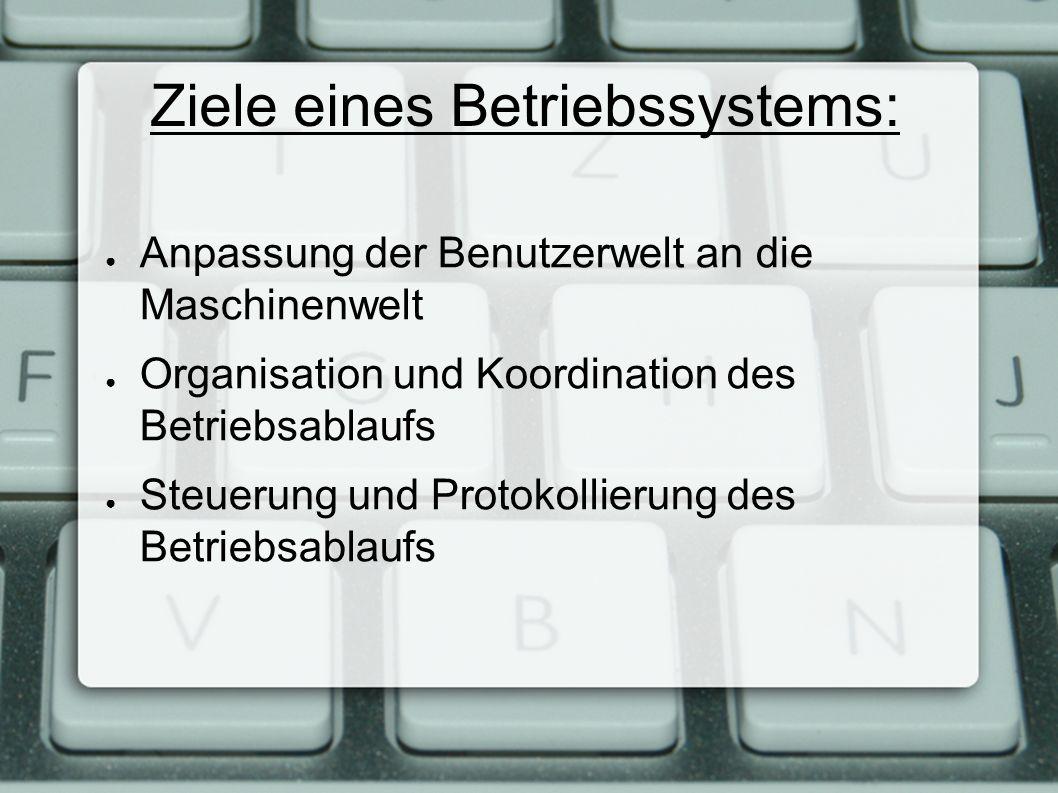 Ziele eines Betriebssystems: ● Anpassung der Benutzerwelt an die Maschinenwelt ● Organisation und Koordination des Betriebsablaufs ● Steuerung und Protokollierung des Betriebsablaufs