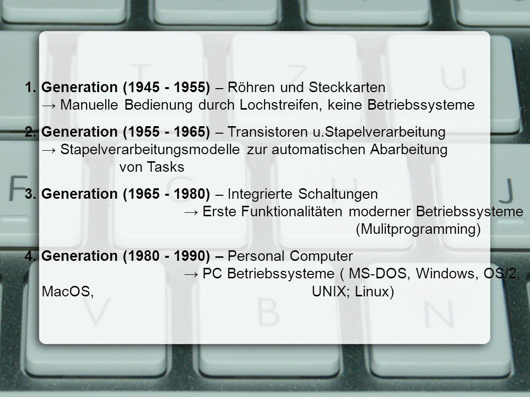 1. Generation (1945 - 1955) – Röhren und Steckkarten → Manuelle Bedienung durch Lochstreifen, keine Betriebssysteme 2. Generation (1955 - 1965) – Tran