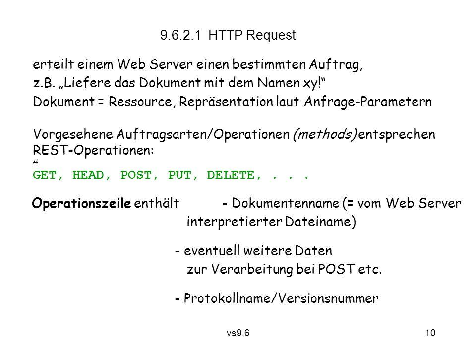 vs9.6 10 9.6.2.1 HTTP Request erteilt einem Web Server einen bestimmten Auftrag, z.B.