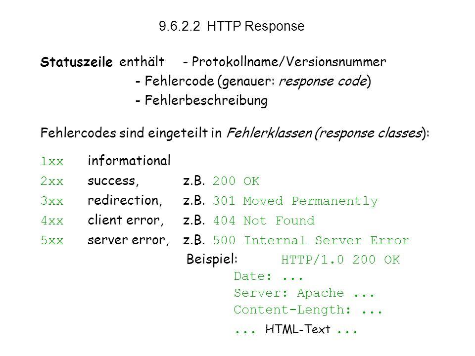 vs9.6 13 9.6.2.2 HTTP Response Statuszeile enthält- Protokollname/Versionsnummer - Fehlercode (genauer: response code) - Fehlerbeschreibung Fehlercodes sind eingeteilt in Fehlerklassen (response classes): 1xx informational 2xx success, z.B.