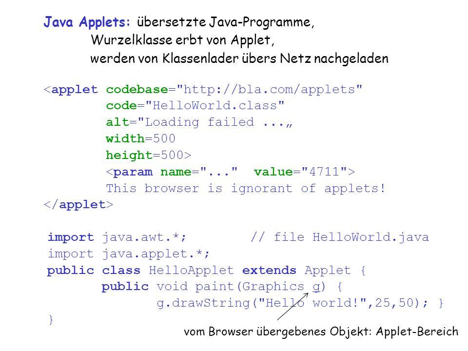"""vs9.6 20 Java Applets:übersetzte Java-Programme, Wurzelklasse erbt von Applet, werden von Klassenlader übers Netz nachgeladen <applet codebase= http://bla.com/applets code= HelloWorld.class alt= Loading failed..."""" width=500 height=500> This browser is ignorant of applets."""