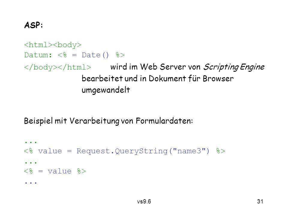 vs9.6 31 ASP: Datum: wird im Web Server von Scripting Engine bearbeitet und in Dokument für Browser umgewandelt Beispiel mit Verarbeitung von Formulardaten:.........