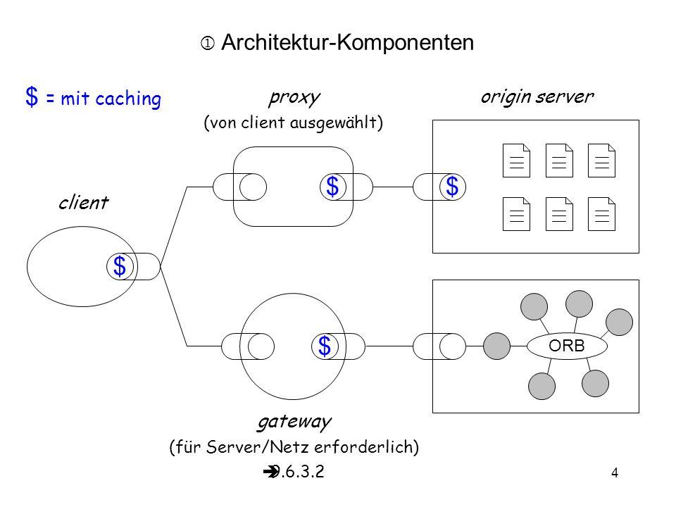 vs9.6 4 client origin server ORB gateway (für Server/Netz erforderlich)  9.6.3.2  Architektur-Komponenten $ $$ $ $ = mit caching proxy (von client ausgewählt)