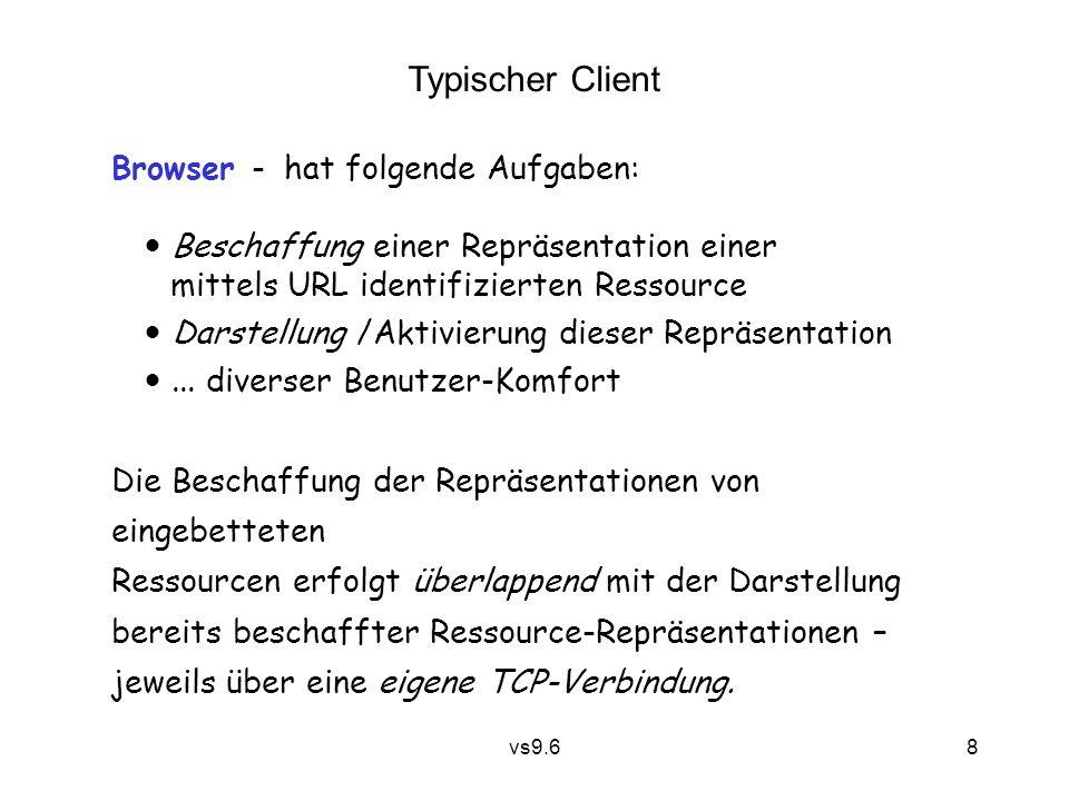 vs9.6 8 Browser - hat folgende Aufgaben:  Beschaffung einer Repräsentation einer mittels URL identifizierten Ressource  Darstellung /Aktivierung dieser Repräsentation ...