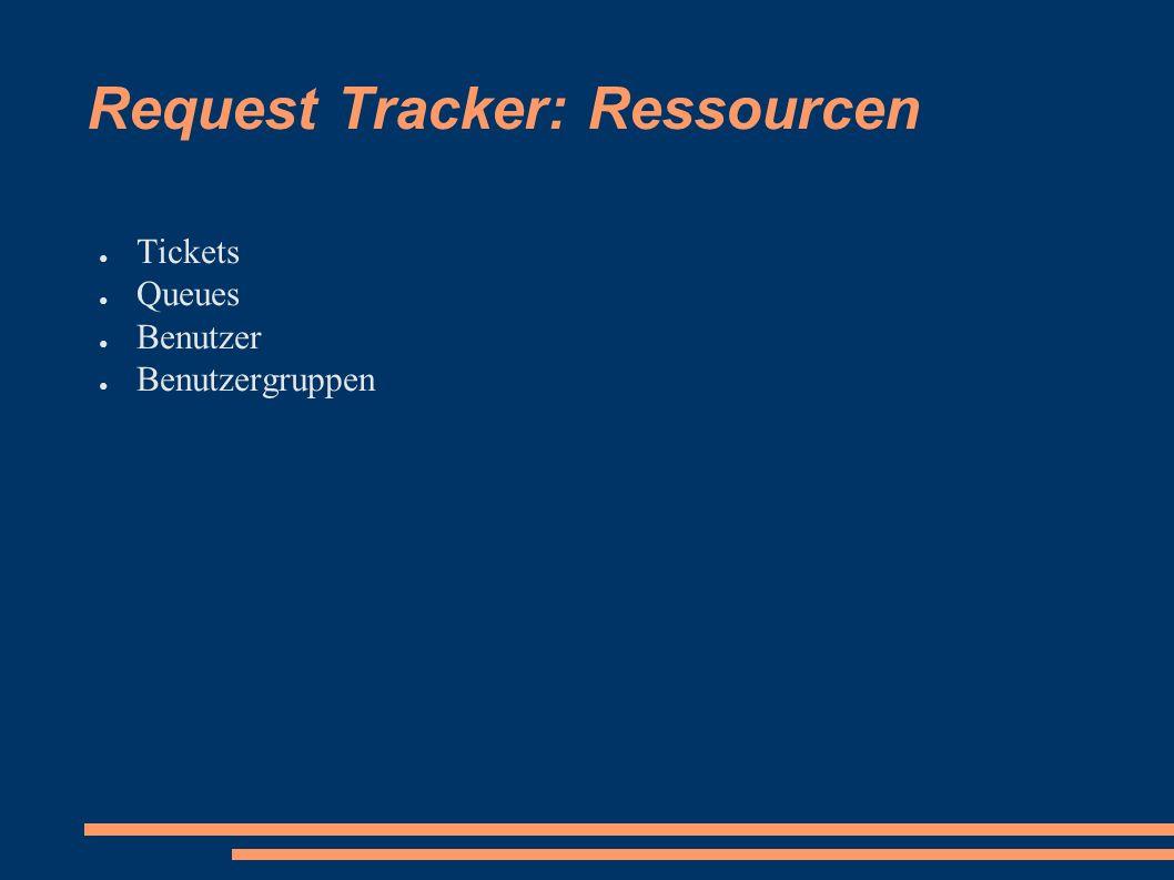 Request Tracker: Ressourcen ● Tickets ● Queues ● Benutzer ● Benutzergruppen