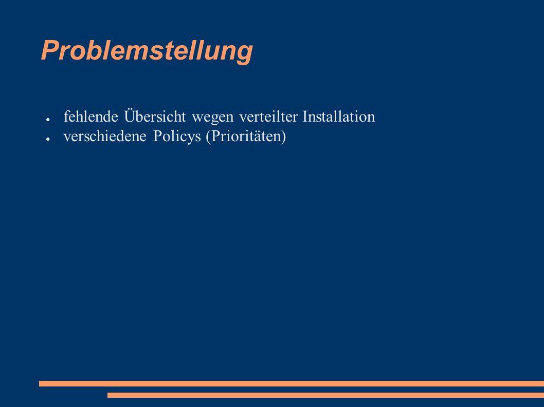 Problemstellung ● fehlende Übersicht wegen verteilter Installation ● verschiedene Policys (Prioritäten)