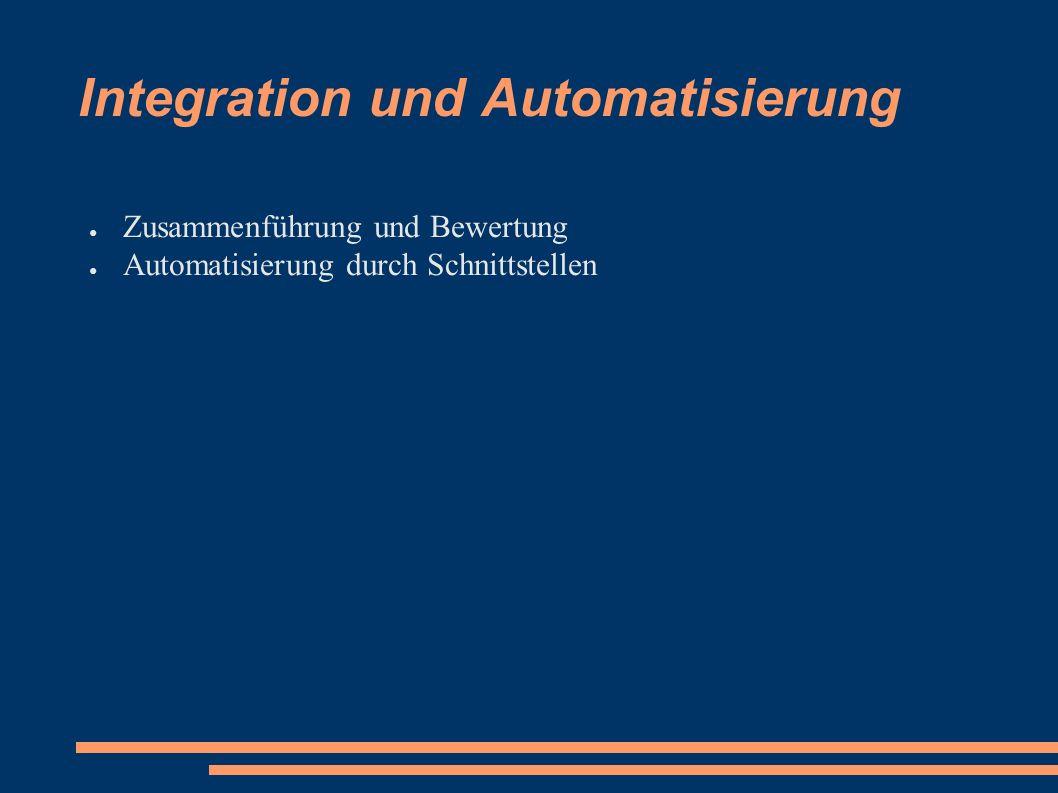 Integration und Automatisierung ● Zusammenführung und Bewertung ● Automatisierung durch Schnittstellen