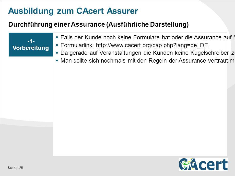 Seite  25 Ausbildung zum CAcert Assurer -1- Vorbereitung  Falls der Kunde noch keine Formulare hat oder die Assurance auf Messen / Veranstaltungen stattfindet, sollte man ein paar Formulare zur Hand haben.