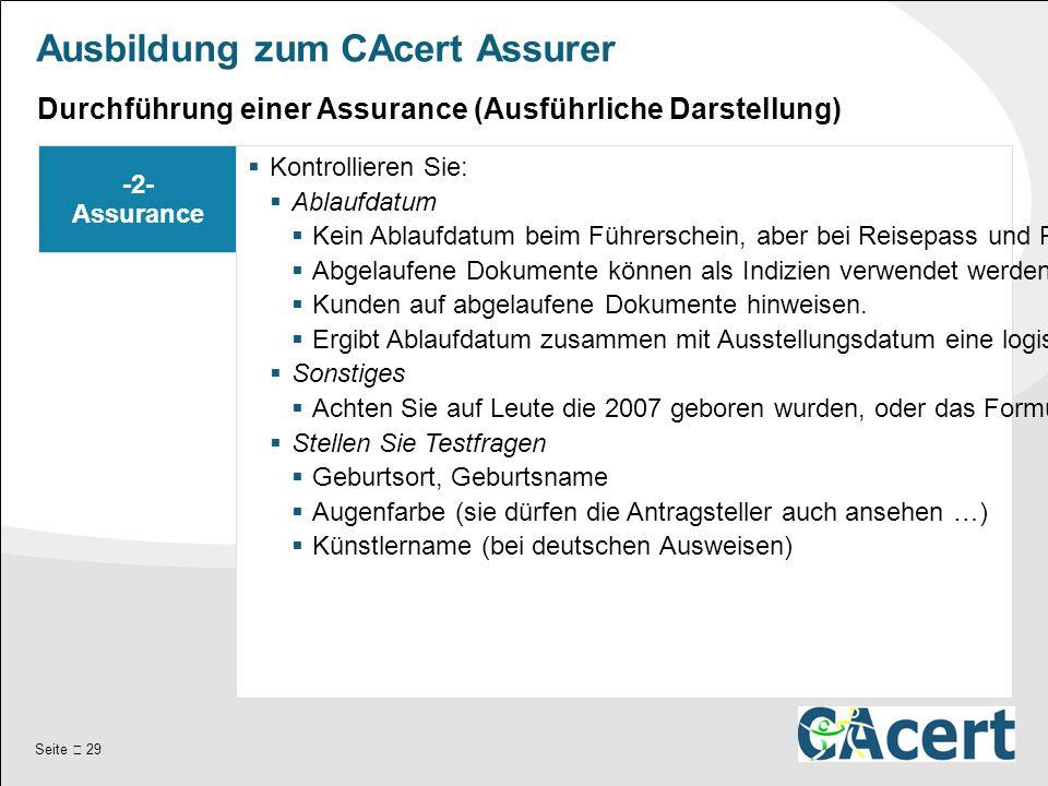 Seite  29 Ausbildung zum CAcert Assurer -2- Assurance  Kontrollieren Sie:  Ablaufdatum  Kein Ablaufdatum beim Führerschein, aber bei Reisepass und Personalausweis.