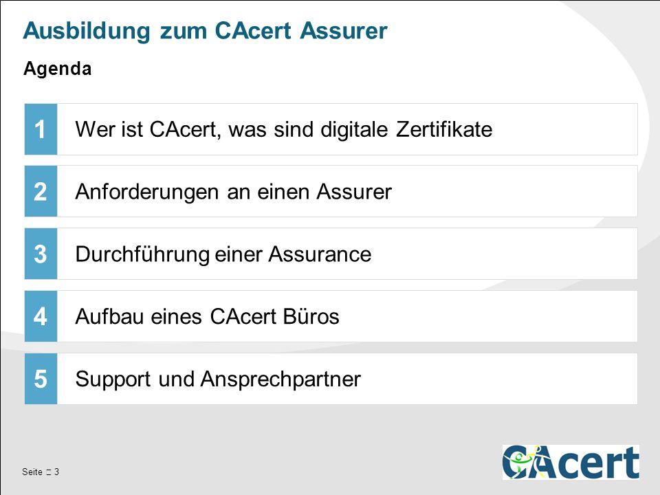 Seite  3 Ausbildung zum CAcert Assurer 1 Wer ist CAcert, was sind digitale Zertifikate 2 Anforderungen an einen Assurer 3 Durchführung einer Assurance 4 Aufbau eines CAcert Büros 5 Support und Ansprechpartner Agenda
