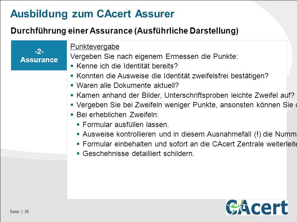 Seite  30 Ausbildung zum CAcert Assurer -2- Assurance Punktevergabe Vergeben Sie nach eigenem Ermessen die Punkte:  Kenne ich die Identität bereits.
