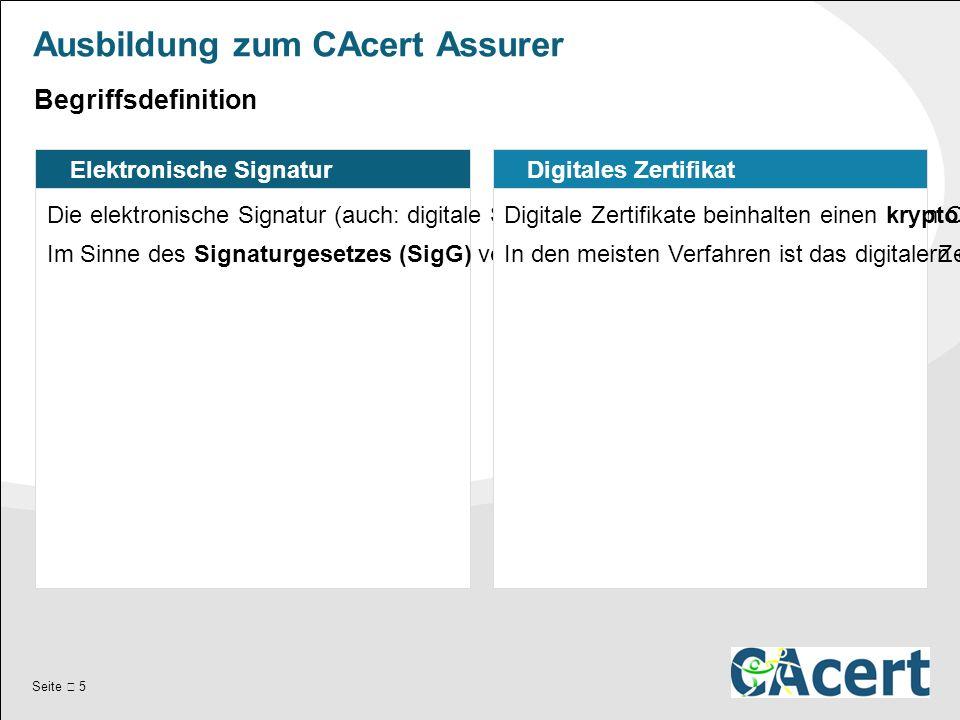 Seite  5 Ausbildung zum CAcert Assurer Elektronische Signatur Die elektronische Signatur (auch: digitale Signatur, elektronische Unterschrift) ist ein Oberbegriff für verschiedene Signaturformen.