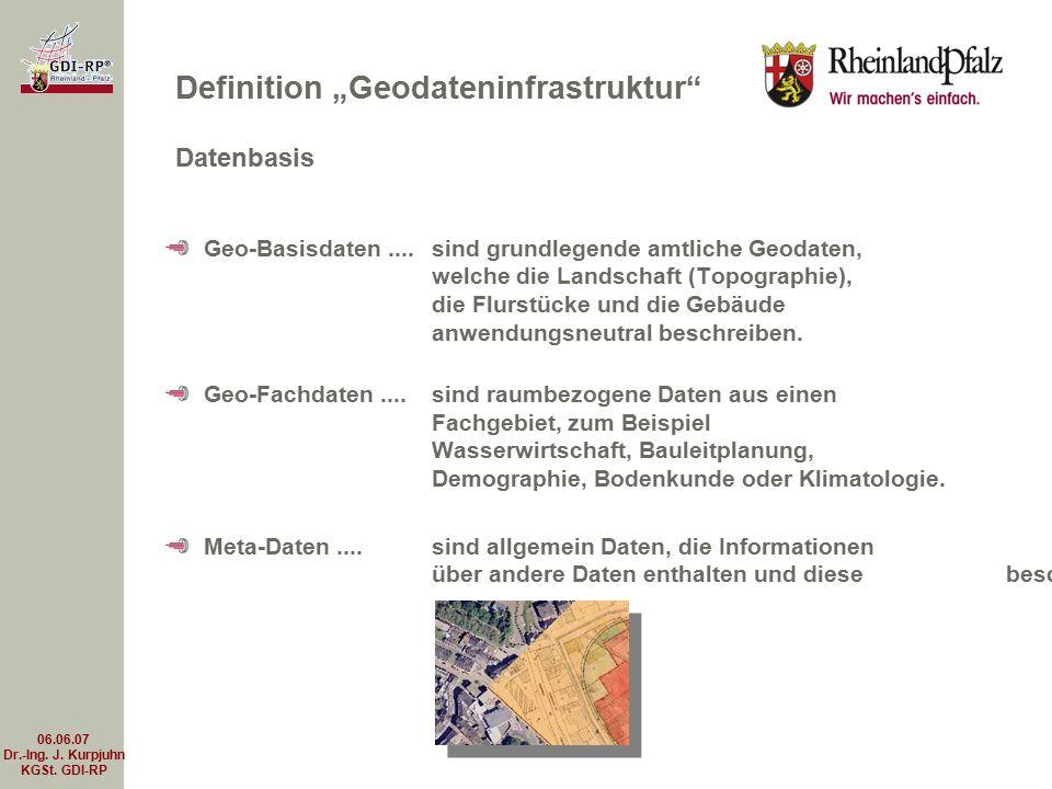 06.06.07 Dr.-Ing. J. Kurpjuhn KGSt. GDI-RP Geo-Basisdaten.... sind grundlegende amtliche Geodaten, welche die Landschaft (Topographie), die Flurstücke