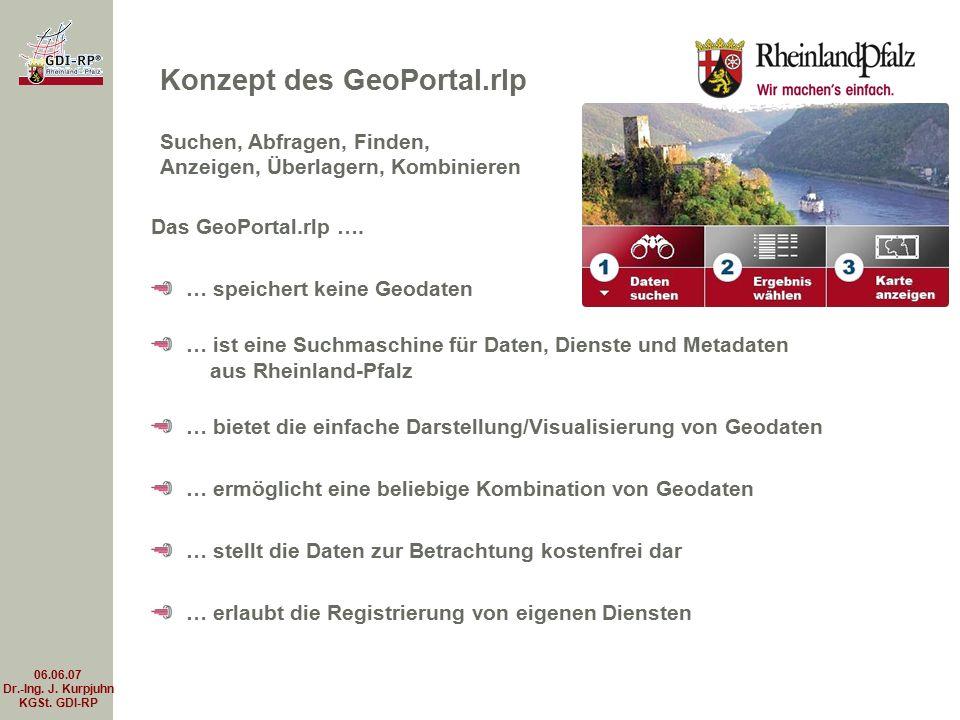 06.06.07 Dr.-Ing. J. Kurpjuhn KGSt. GDI-RP Das GeoPortal.rlp …. … speichert keine Geodaten … ist eine Suchmaschine für Daten, Dienste und Metadaten au