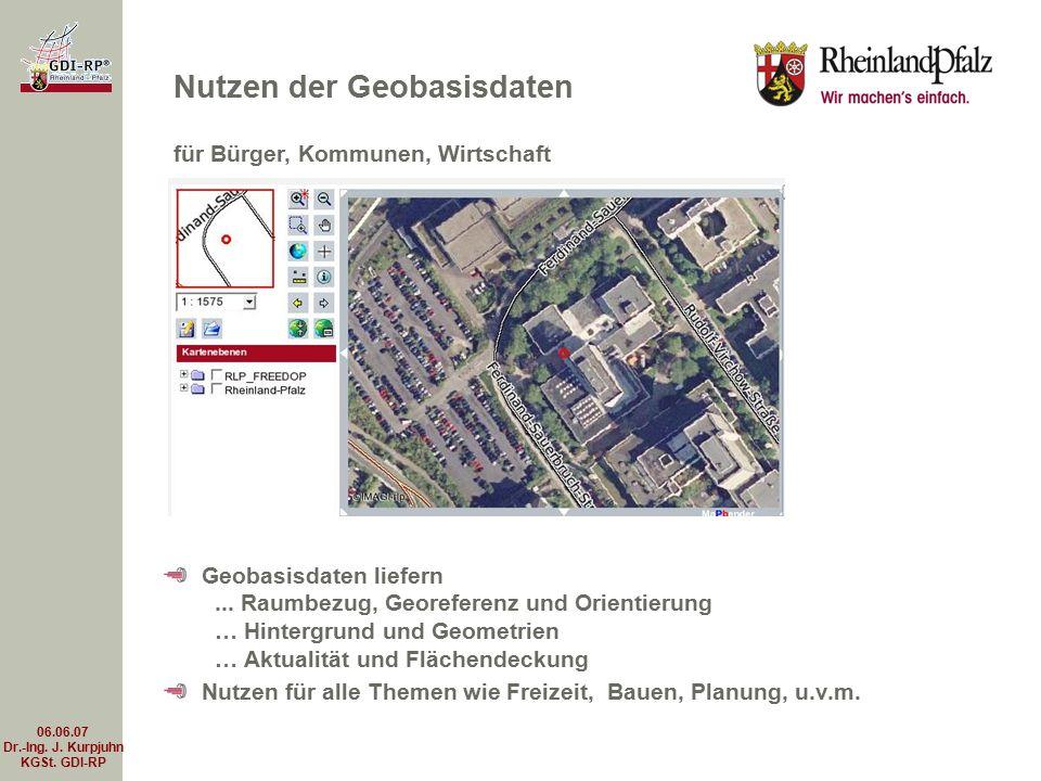 06.06.07 Dr.-Ing. J. Kurpjuhn KGSt. GDI-RP Geobasisdaten liefern... Raumbezug, Georeferenz und Orientierung … Hintergrund und Geometrien … Aktualität