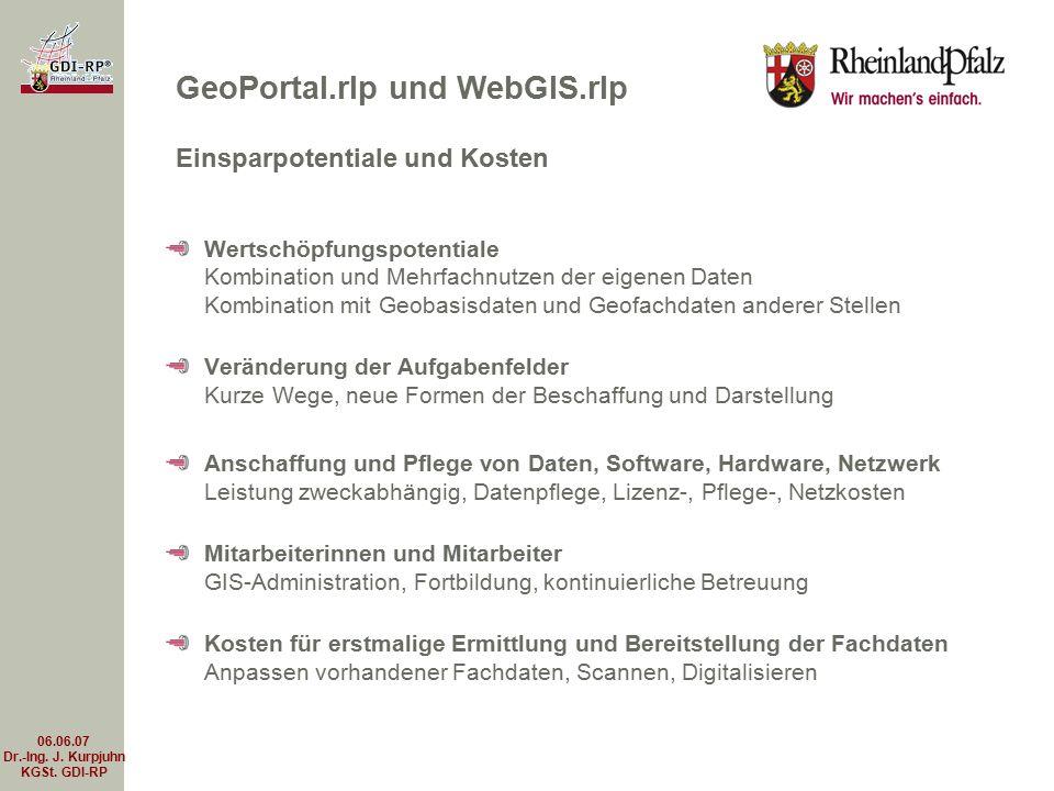 06.06.07 Dr.-Ing. J. Kurpjuhn KGSt. GDI-RP Wertschöpfungspotentiale Kombination und Mehrfachnutzen der eigenen Daten Kombination mit Geobasisdaten und