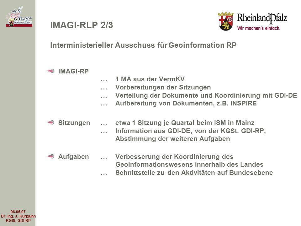 06.06.07 Dr.-Ing. J. Kurpjuhn KGSt. GDI-RP IMAGI-RP …1 MA aus der VermKV …Vorbereitungen der Sitzungen …Verteilung der Dokumente und Koordinierung mit