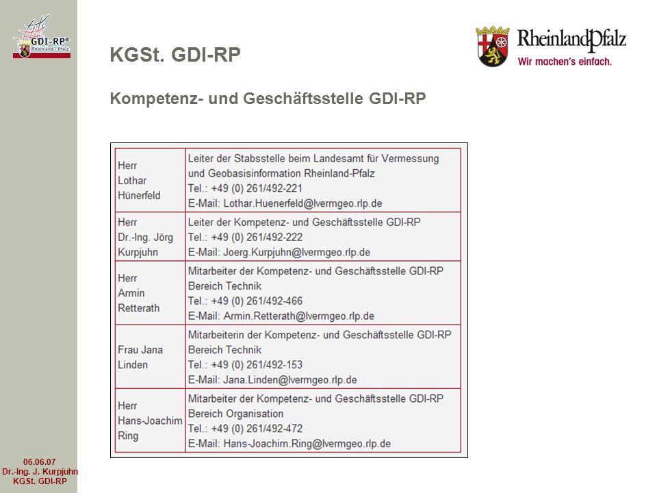 06.06.07 Dr.-Ing. J. Kurpjuhn KGSt. GDI-RP KGSt. GDI-RP Kompetenz- und Geschäftsstelle GDI-RP