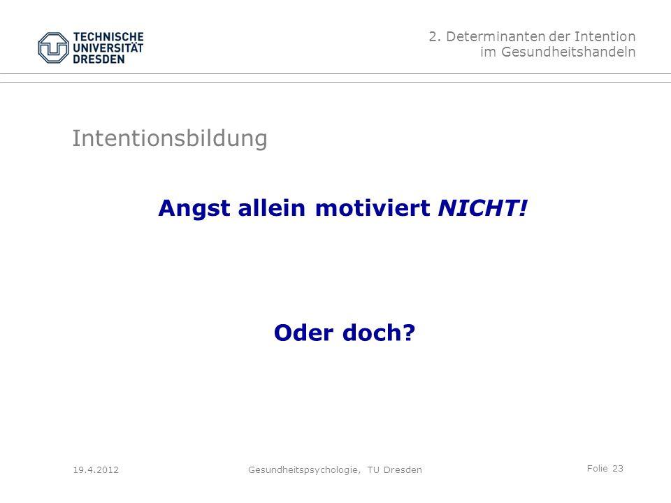 Folie 23 19.4.2012Gesundheitspsychologie, TU Dresden Intentionsbildung Angst allein motiviert NICHT.