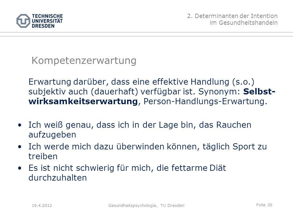Folie 35 19.4.2012Gesundheitspsychologie, TU Dresden Kompetenzerwartung Erwartung darüber, dass eine effektive Handlung (s.o.) subjektiv auch (dauerhaft) verfügbar ist.