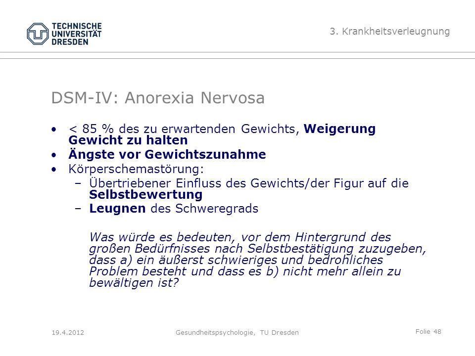Folie 48 19.4.2012Gesundheitspsychologie, TU Dresden DSM-IV: Anorexia Nervosa 3.