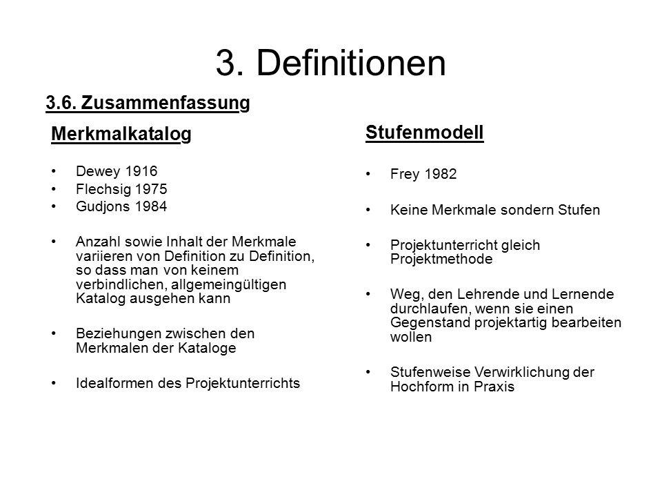 3. Definitionen Merkmalkatalog Dewey 1916 Flechsig 1975 Gudjons 1984 Anzahl sowie Inhalt der Merkmale variieren von Definition zu Definition, so dass